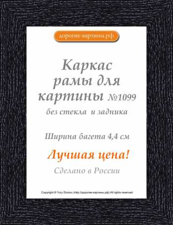 Рама №1099 70x100 см Черная с серебром