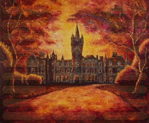 Замок в закате. Картина. Холст. Масло.