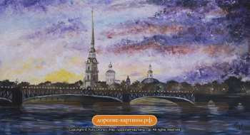 Картина Закат над Петропавловской крепостью. Авторские Картины. Дорогие Подарки.