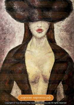 Девушка в шляпе. Картина. Холст. Мосло.
