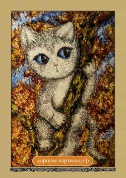 Любопытный котенок. Картина. Холст. Мосло.