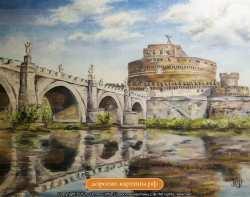 Рим. Замок Святого Ангела. Картина. Холст. Мосло.