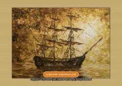 В море на закате. Картина. Холст. Мосло.