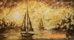 Лодки в бухте. Картина. Холст. Мосло.