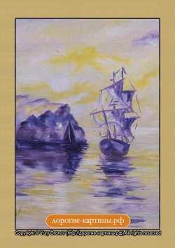 Корабли в бухте (фрагмент I). Картина. Холст. Мосло.