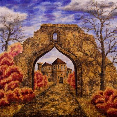 Осень. Замок.. Картина. Холст. Мосло.