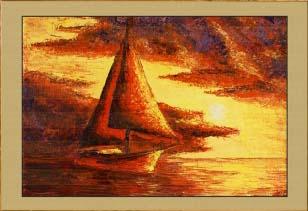 Крым. Яхта в закате (фрагмент I). Картина. Холст. Мосло.