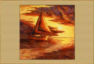 Крым. Яхта в закате.. Картина. Холст. Мосло.