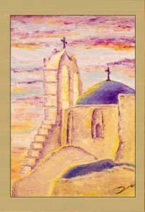 Греция. Церковь на закате.