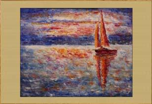 Крым. Яхта на рассвете. Картина. Холст. Мосло.