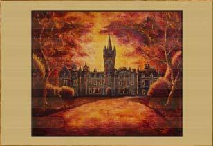 Замок в закате. Картина. Холст. Мосло.