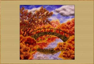 Осень. Мостик.. Картина. Холст. Мосло.