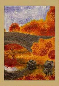 Осень. Мост (фрагмент II). Картина. Холст. Мосло.