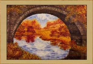 Осень. Под мостом (фрагмент IV). Картина. Холст. Мосло.