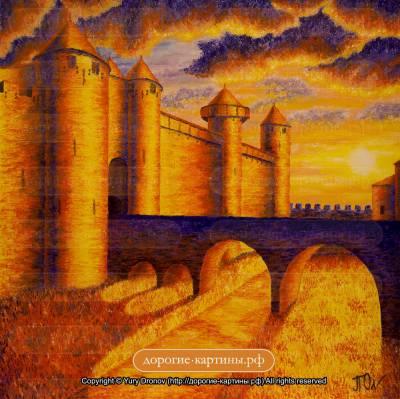 Крепость Каркассон. Рассвет